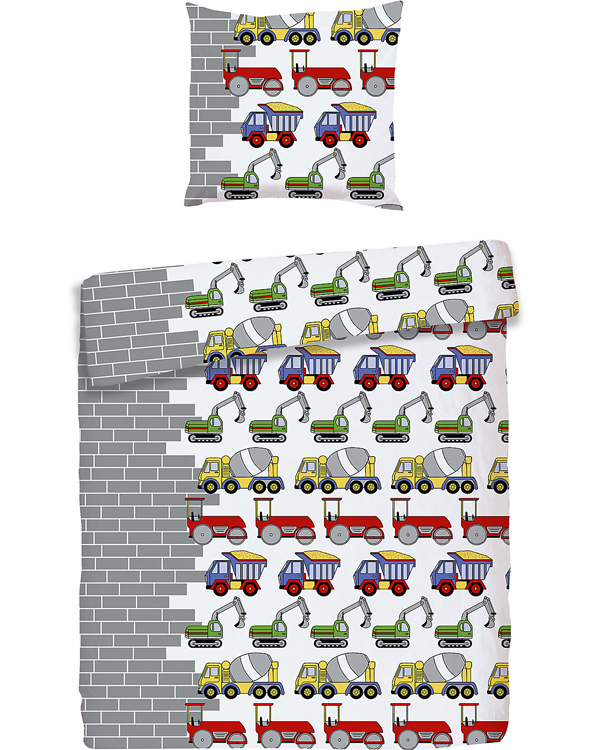 Bettwäsche mit Baufahrzeugen für Kinder
