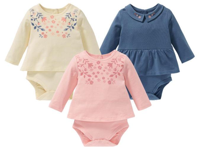 drei Babybodykleider für Mädchen