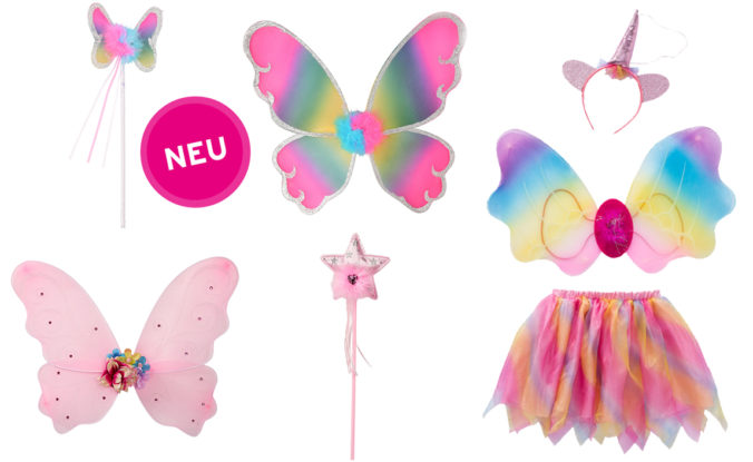 Flügel, Zauberstäbe, EInhornkostüm für Kinder