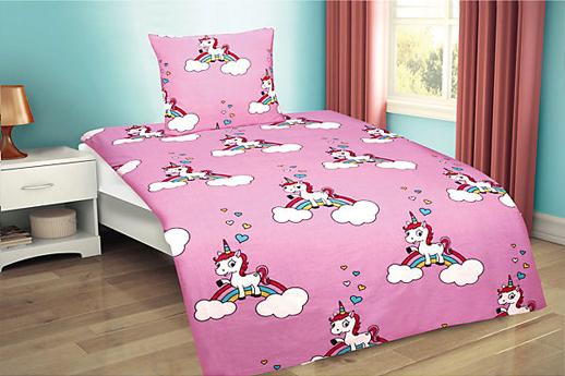 Rosa Einhornbettwäsche für Mädchen