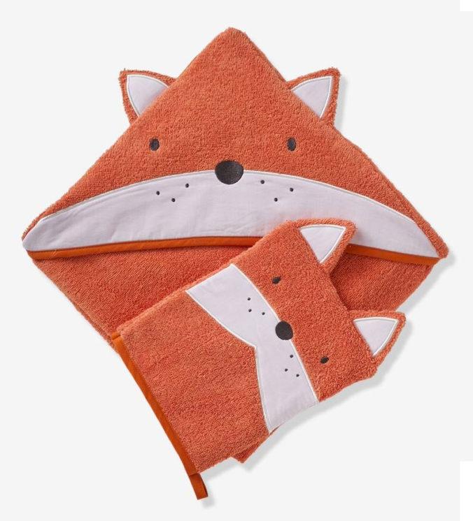 Fuchs Kapuzenhandtuch mit Waschlappen