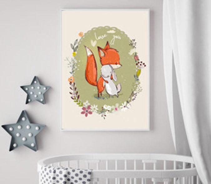 gezeichnetes Poster Fuchs und Hase umarmen sich
