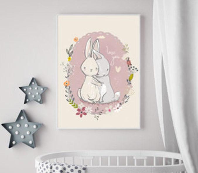 gezeichnetes Poster mit zwei sich umarmenden Hasen