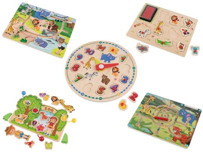 Verschiedene Holzspiele für Kleinkinder