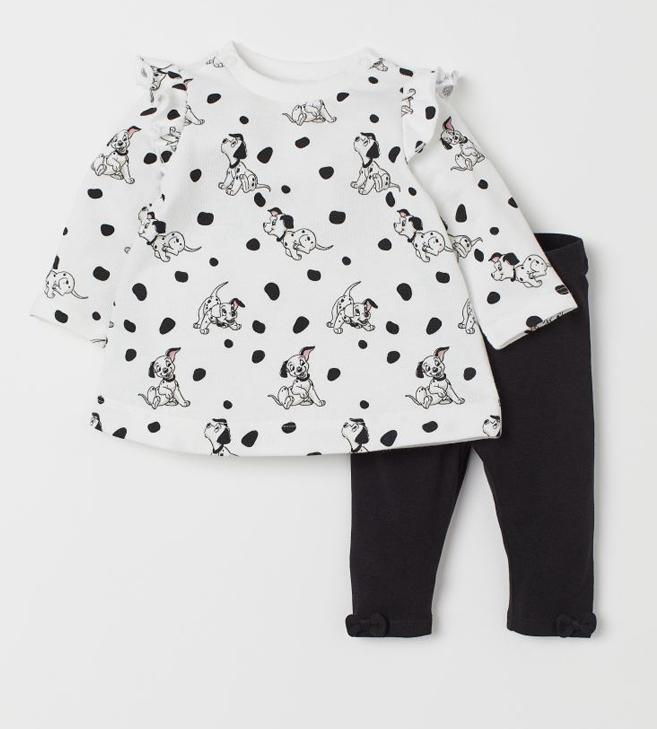 Kleid und Leggings für Babys mit 101 Dalmatiner Print