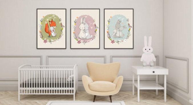 Drei Poster mit Fuchs und Hasen Motiven