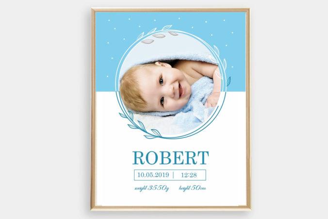 personalisierbares Geburtsposter mit Bild des Babys