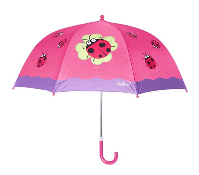 pinker Regenschirm mit Marienkäferdesign für Mädchen