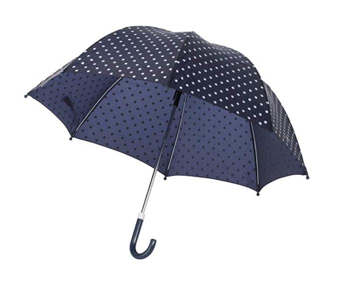 blauer Kinderregenschirm mit weißen Punkten
