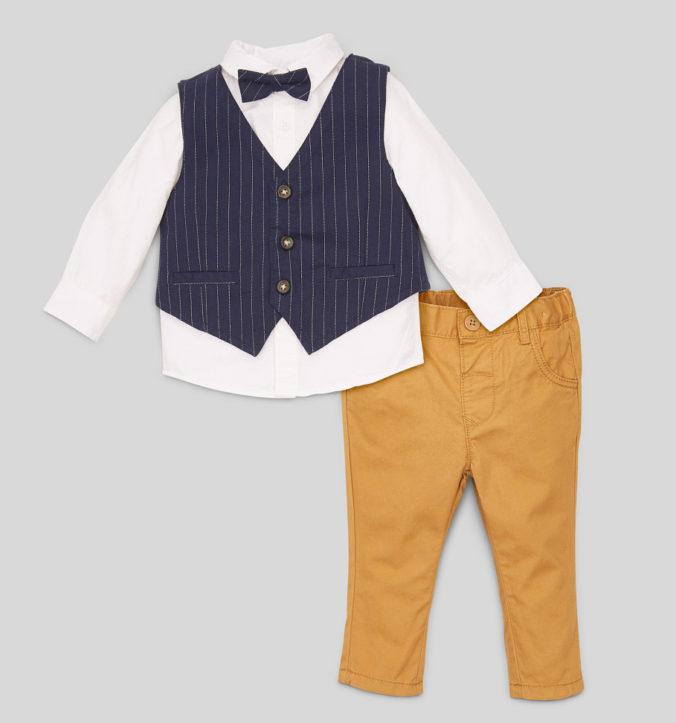 Modeset für Babys mit Hemd, Hose, Weste und Fliege