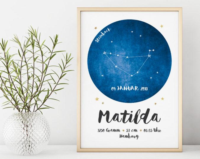 personalisierbares Geburtsposter mit Geburtsdaten und Sternzeichen