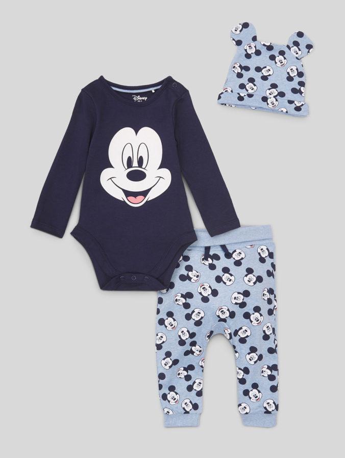Babybody, Hose und Muetze mit Mickey Mouse Print
