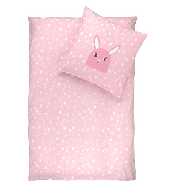 rosa Bettwäsche mit Hasenmotiv und Herzchen