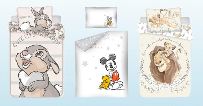 Bettwäsche mit Klopfer, Mickey Mouse und König der Löwen Motiven
