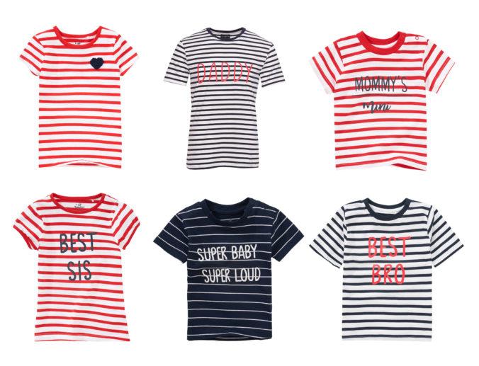 Gestreifte Familien-Shirts mit Aufdruck