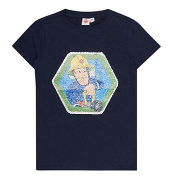 Dunkles Kinder-T-Shirt mit Wendepailletten und Feuerwehrmann Sam Motiv