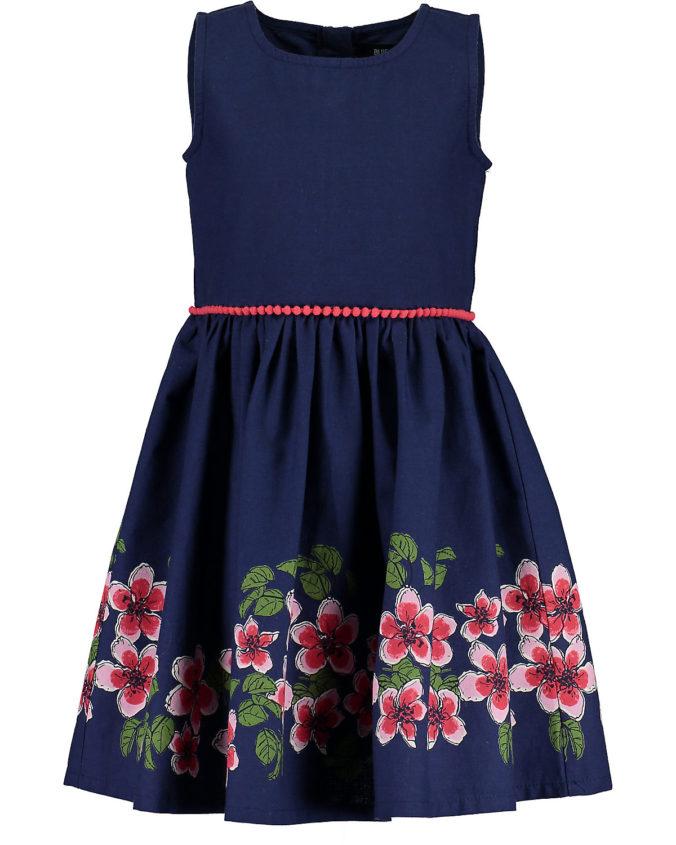 Blaues Kleid mit rotem Blumenprint für Kinder