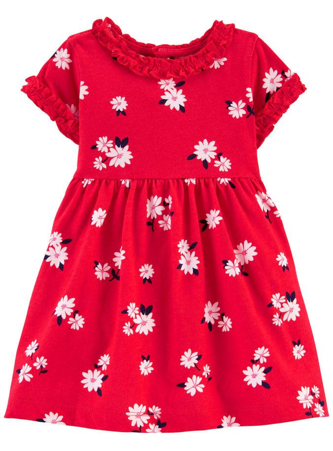 rotes Kleid mit Blümchenprint für Kinder