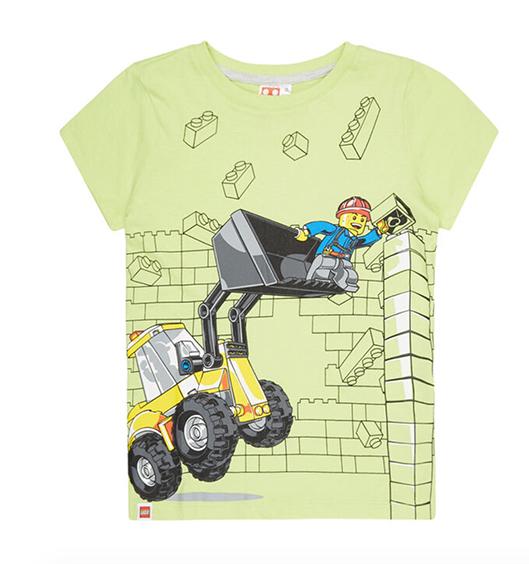 T-Shirt mit Lego-Figur in einem Bagger für Kinder