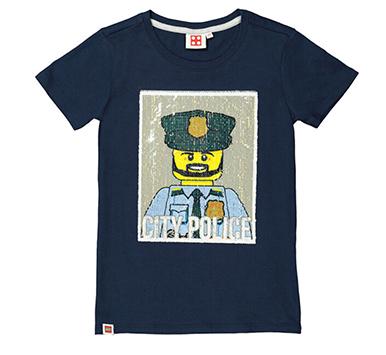 Jungen-T-Shirt mit Wendepailletten Lego Motiv