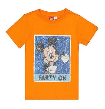 Orangenes Kinder-T-Shirt mit Wendepailletten und Mickey Mouse Motiv