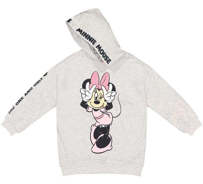 grauer Minnie Mouse Kapuzenpullover für Mädchen