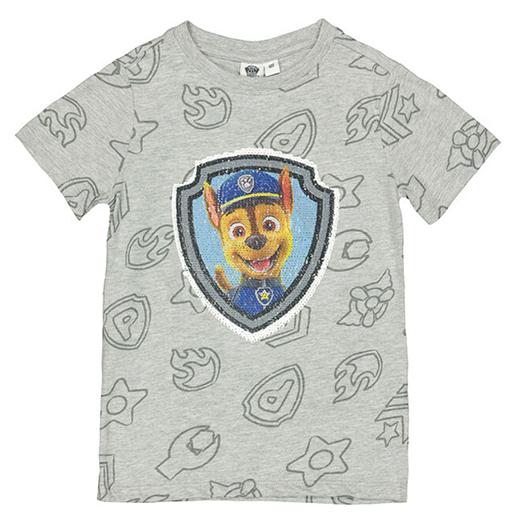 graues T-Shirt mit Wendepailletten Paw Patrol Motiv fuer Kinder