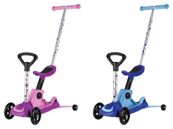 Scooter fuer Kleinkinder in blau und rosa