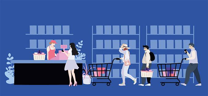 Menschen an der Supermarktkasse