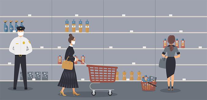Ausverkaufte Supermarktregale