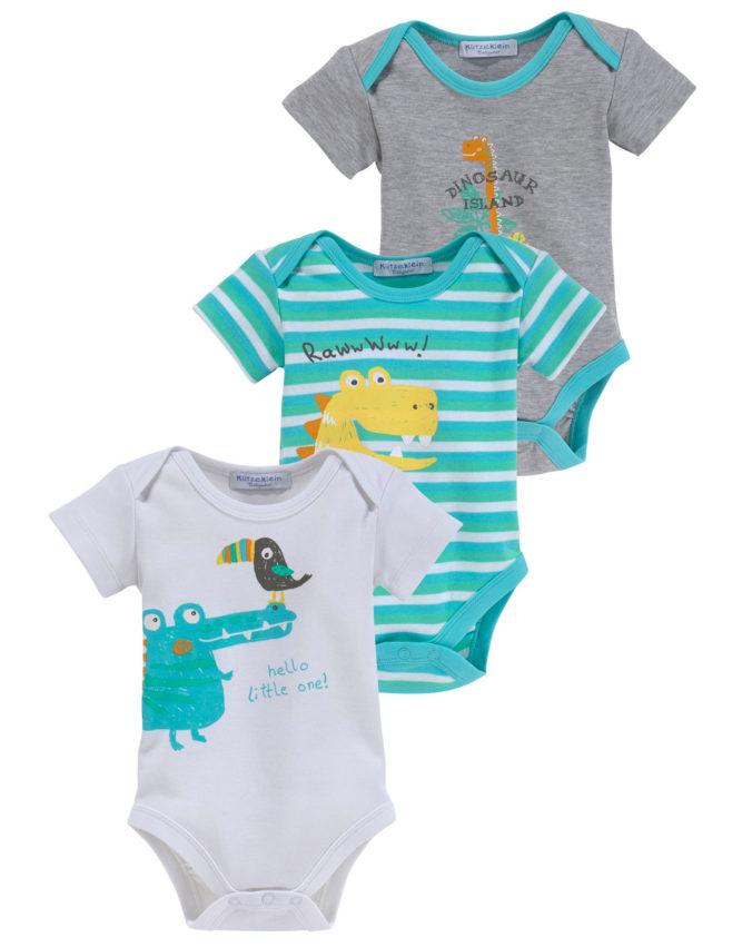 3er-Pack Babybodys mit Dinomotiven