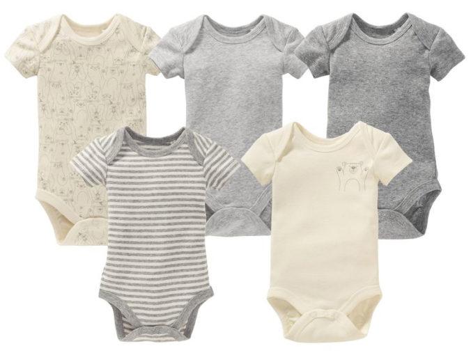 5 graue und beige Babybodys