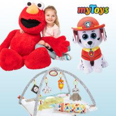 Spielbogen, Plüschhund und XXL Plüsch-Elmo für Kinder