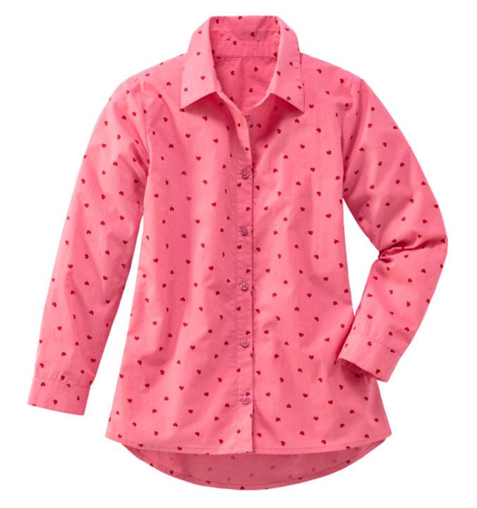 Pinke Bluse mit Herz-Print für Mädchen