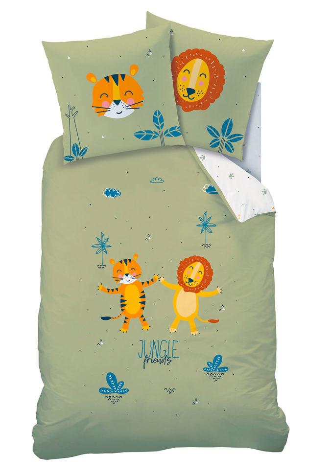 Bettwäsche mit Löwe- und Tigermotiv für Kinder