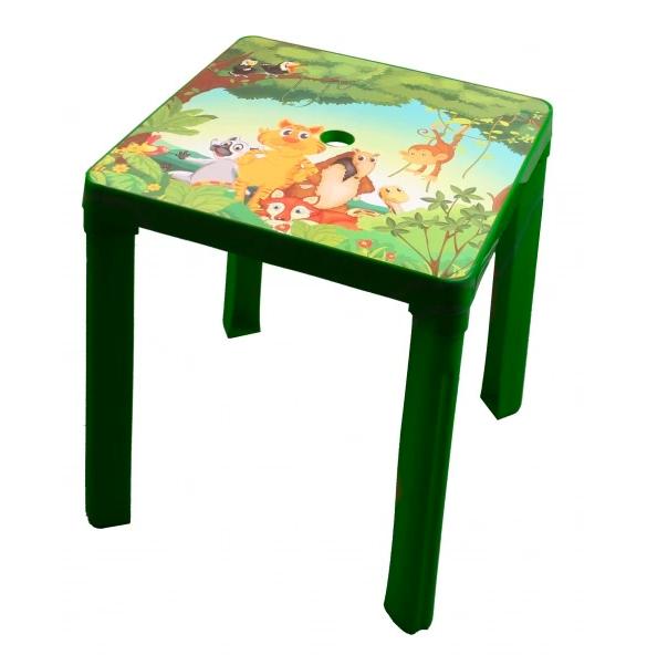 grüner Kindergartentisch mit Dschungelmotiv