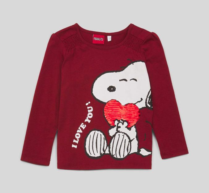 rotes Langarmshirt mit Peanuts-Motiv für Kinder