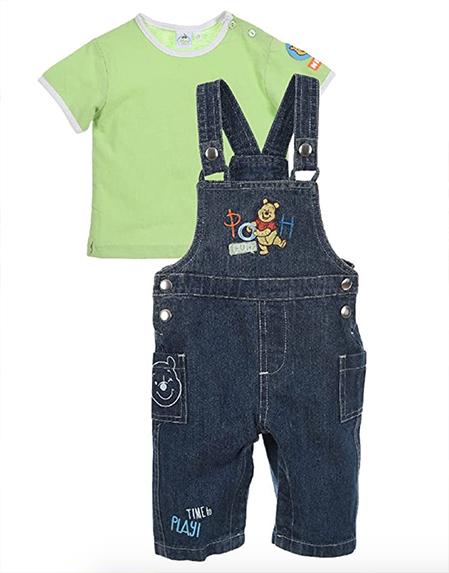 Latzhose mit grünem T-Shirt im Winnie Puuh Design für Kinder