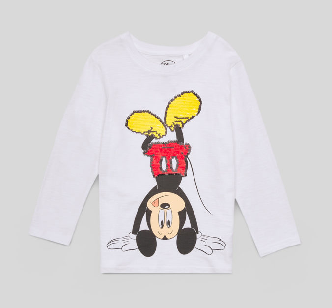 Langarmshirt mit Mickey Mouse Wendepailletten Motiv für Kinder