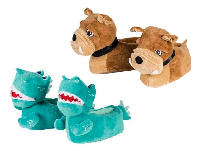 Hunde- und Dinosaurier-Pantoffeln für Kinder