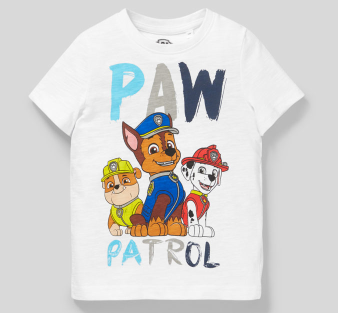 weißes T-Shirt mit Paw Patrol Motiv für Kinder