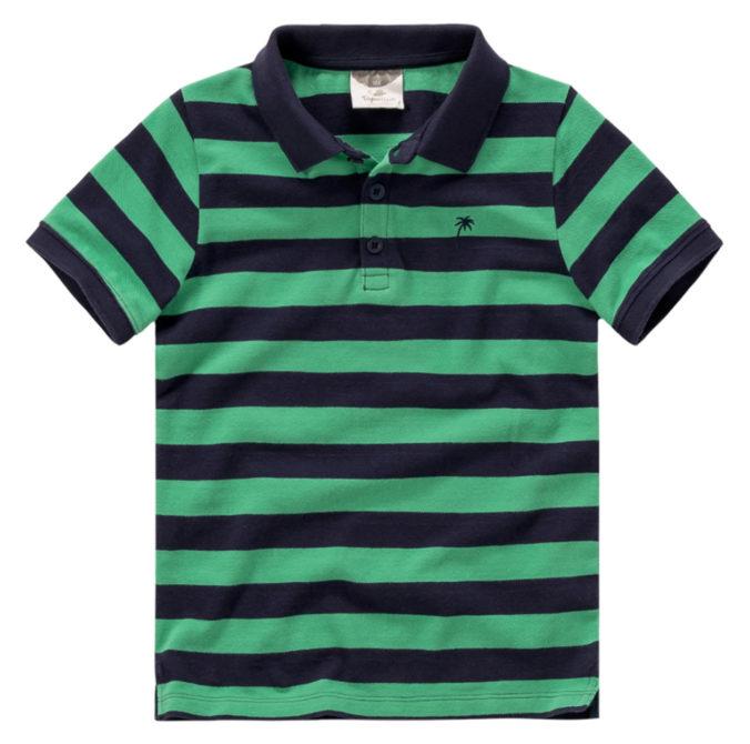 grün-schwarz gestreiftes Poloshirt für Jungen