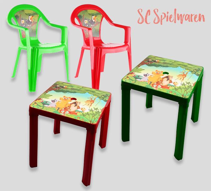 Kindertisch und Stühle mit Dschungelmotiv