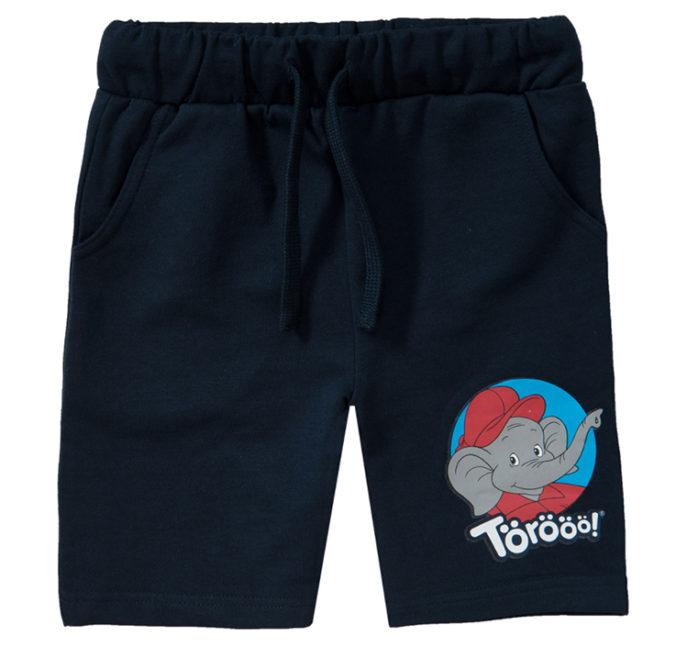 dunkelblaue Shorts mit Benjamin Blümchen Motiv für Kinder