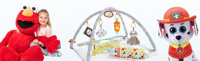 Spielbogen, Plüschhunde und XXL plüsch-Elmo für Kinder