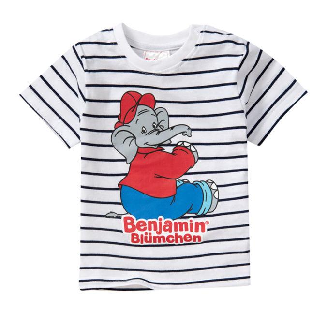 weißes T-Shirt mit Streifen und Benjamin Blümchen Print für Kinder