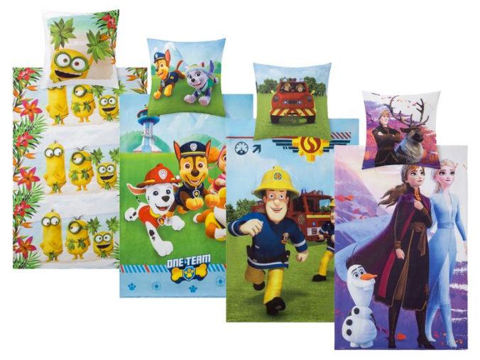 Bettwäsche für Kinder mit Frozen, Paw Patrol, Minions und Feuerwehrmann Sam Motiven