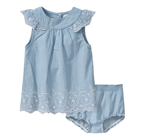 Hellblaues Kleid mit Höschen für Mädchen