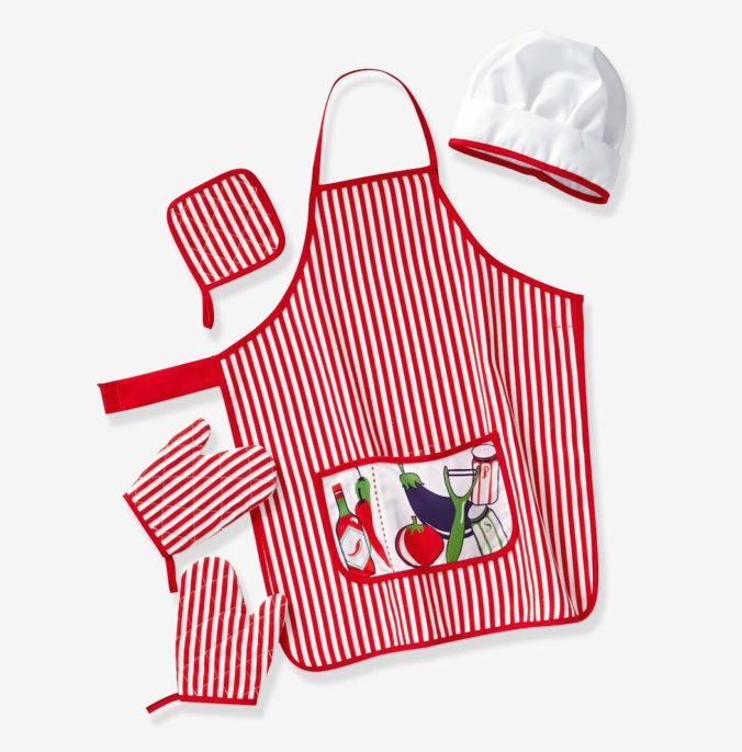 Kochschürze, Mütze und Ofenhandschuhe für Kinder