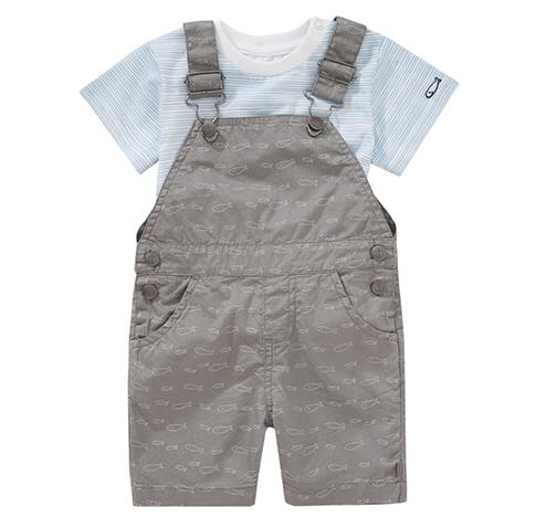 graue Latzhose mit T-Shirt für Jungen